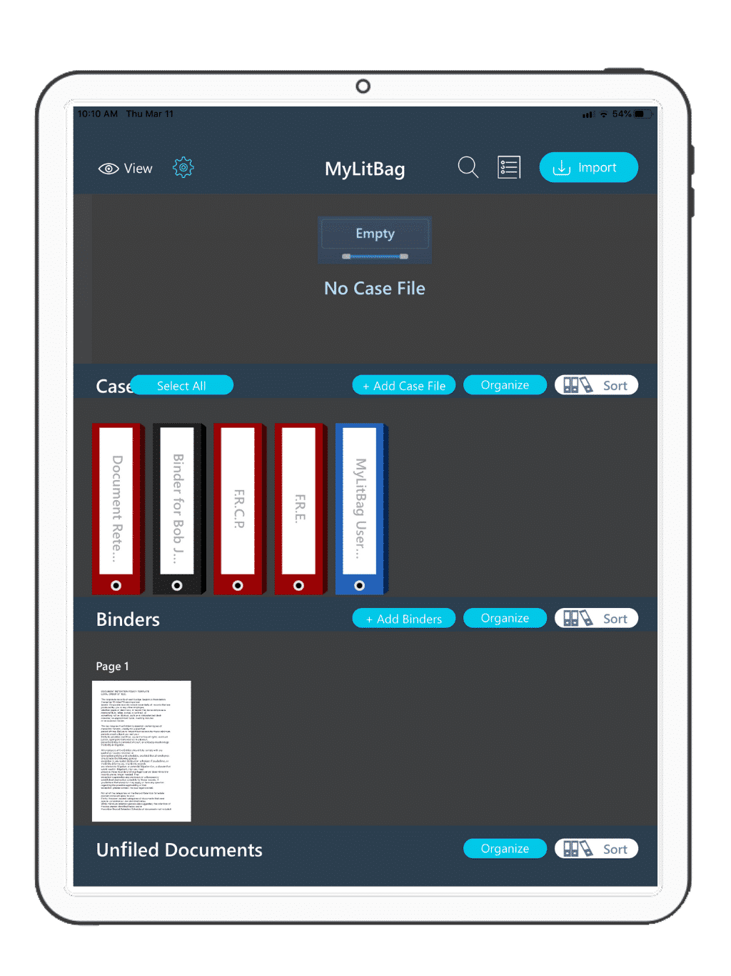 View, edit and rearrange your references, case files and binders right on your MyLitBag dashboard.